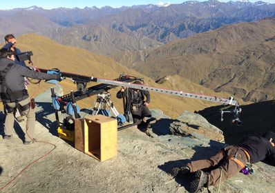 The 6-Foot Slider rigged with a crane arm for DP Chow Min, shooting near Queenstown, New Zealand.