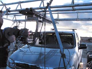 Jim Salazar rigged this creative truss system to mount the 6-Foot Slider on a trailer