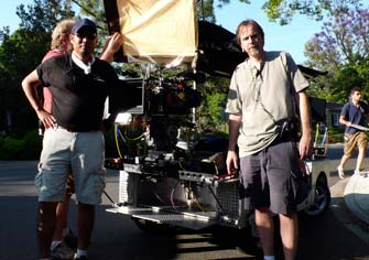 Assistant Hiro Fukuda and Cameraman Robert Smith use the 4-Foot Slider mounted on a GripTrix camera car