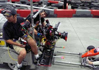 Ron with 1st assistant camera Hiro Fukuda shooting a go-cart race. The Slider made quick angle changes easy.