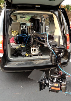 A Slider camera-movement system rigged inside a minivan for a low-profile shot
