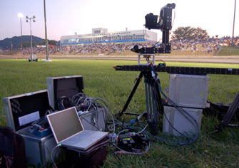 The 8-Foot Motorized Slider on location at the races