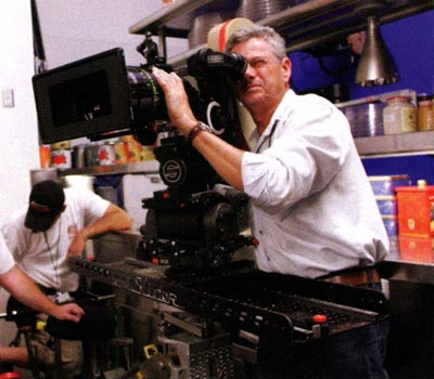 John Seale checks the frame through one of his Slider-mounted cameras