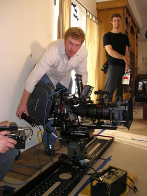 Tom Magrath operates an 8-Foot Slider camera-movement system